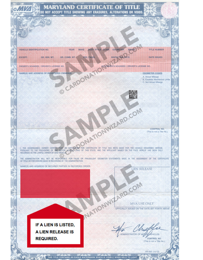 Maryland title transfer on older vehicle car donation wizard maryland title issued in 2001 altavistaventures Images